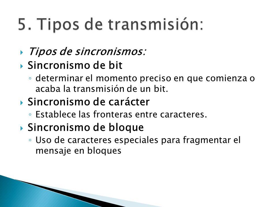 Tipos de sincronismos: Sincronismo de bit determinar el momento preciso en que comienza o acaba la transmisión de un bit. Sincronismo de carácter Esta