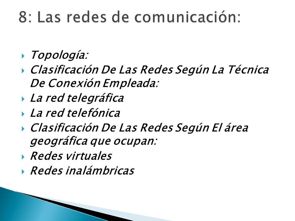 Topología: Clasificación De Las Redes Según La Técnica De Conexión Empleada: La red telegráfica La red telefónica Clasificación De Las Redes Según El