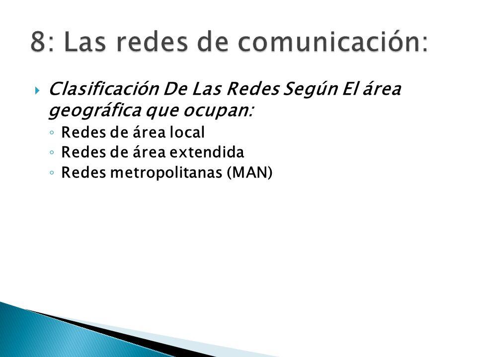 Clasificación De Las Redes Según El área geográfica que ocupan: Redes de área local Redes de área extendida Redes metropolitanas (MAN)
