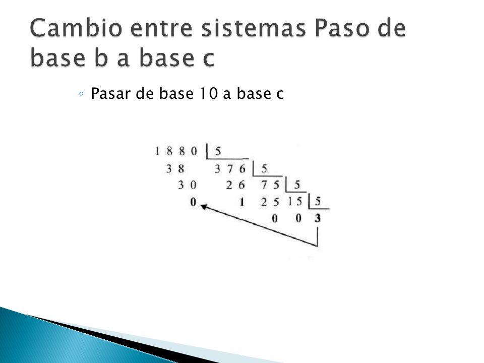 Pasar de base 10 a base c