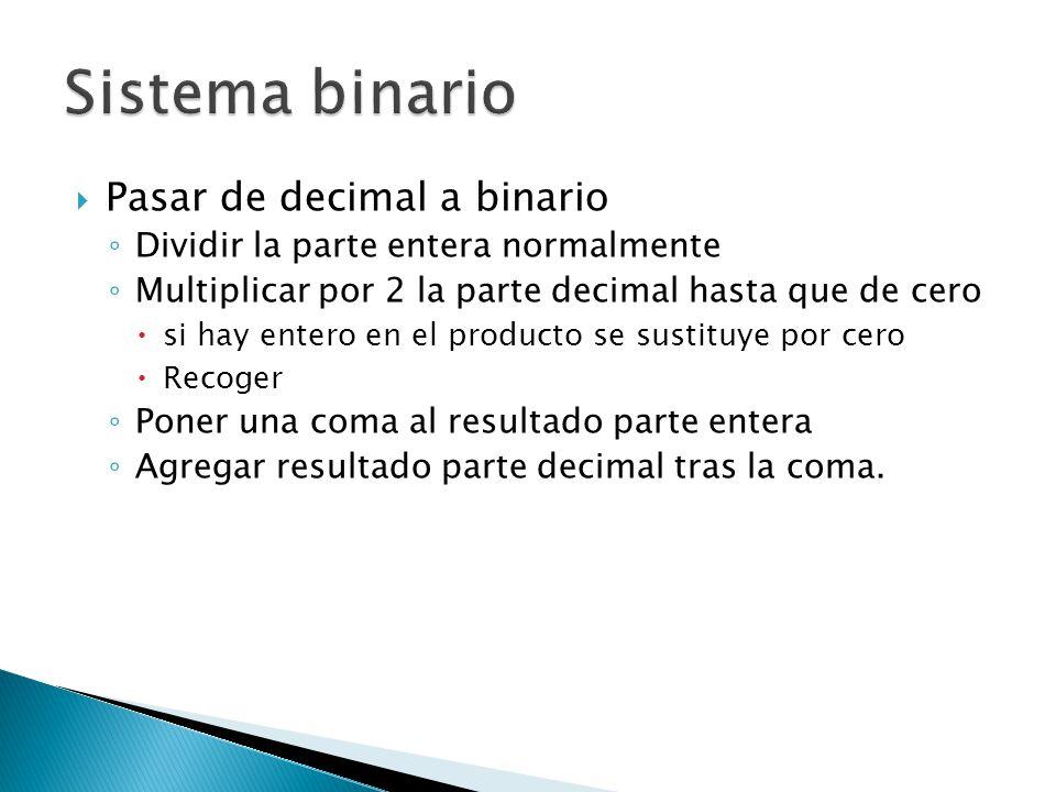 Pasar de decimal a binario Dividir la parte entera normalmente Multiplicar por 2 la parte decimal hasta que de cero si hay entero en el producto se su
