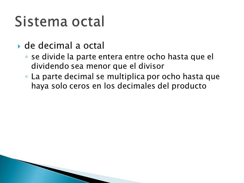 de decimal a octal se divide la parte entera entre ocho hasta que el dividendo sea menor que el divisor La parte decimal se multiplica por ocho hasta