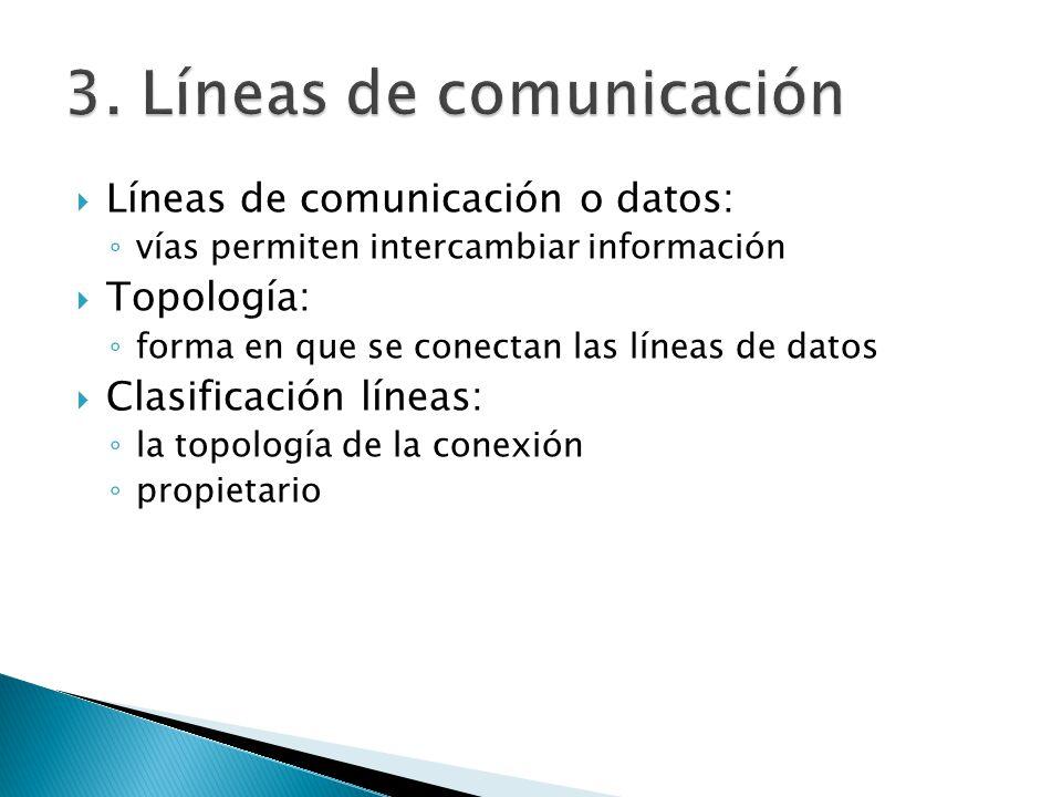 Líneas de comunicación o datos: vías permiten intercambiar información Topología: forma en que se conectan las líneas de datos Clasificación líneas: l