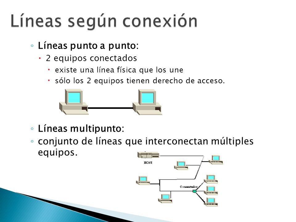 Líneas punto a punto: 2 equipos conectados existe una línea física que los une sólo los 2 equipos tienen derecho de acceso. Líneas multipunto: conjunt