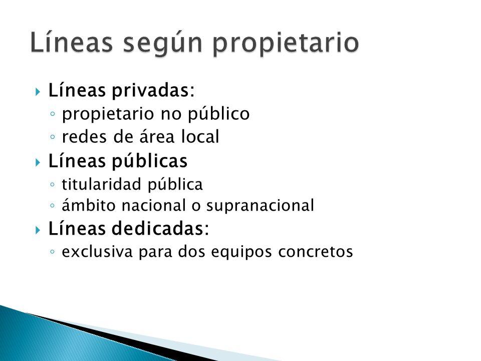 Líneas privadas: propietario no público redes de área local Líneas públicas titularidad pública ámbito nacional o supranacional Líneas dedicadas: excl