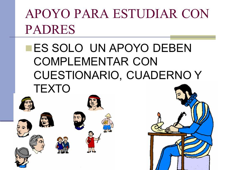 APOYO PARA ESTUDIAR CON PADRES ES SOLO UN APOYO DEBEN COMPLEMENTAR CON CUESTIONARIO, CUADERNO Y TEXTO