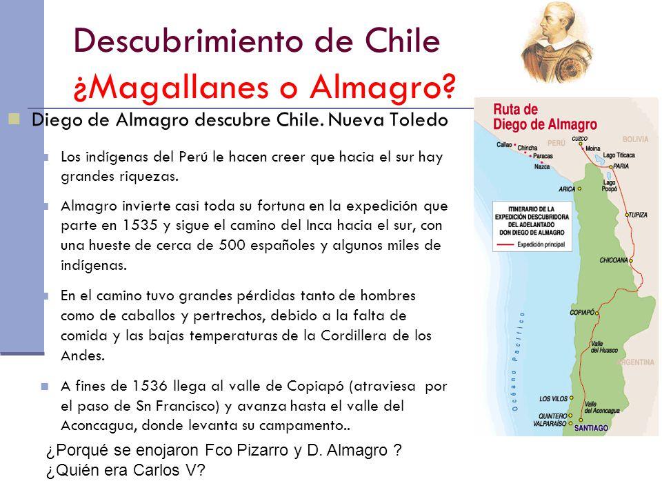 Descubrimiento de Chile Los españoles se enfrentan a los mapuches y regresan al Perú.