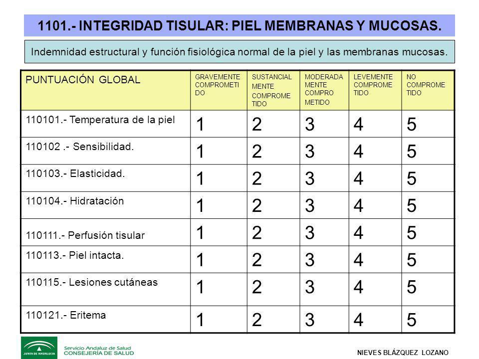 1101.- INTEGRIDAD TISULAR: PIEL MEMBRANAS Y MUCOSAS.