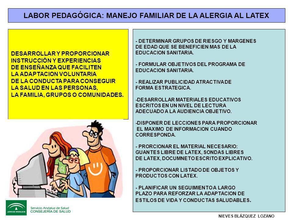 LABOR PEDAGÓGICA: MANEJO FAMILIAR DE LA ALERGIA AL LATEX DESARROLLAR Y PROPORCIONAR INSTRUCCIÓN Y EXPERIENCIAS DE ENSEÑANZA QUE FACILITEN LA ADAPTACION VOLUNTARIA DE LA CONDUCTA PARA CONSEGUIR LA SALUD EN LAS PERSONAS, LA FAMILIA, GRUPOS O COMUNIDADES.