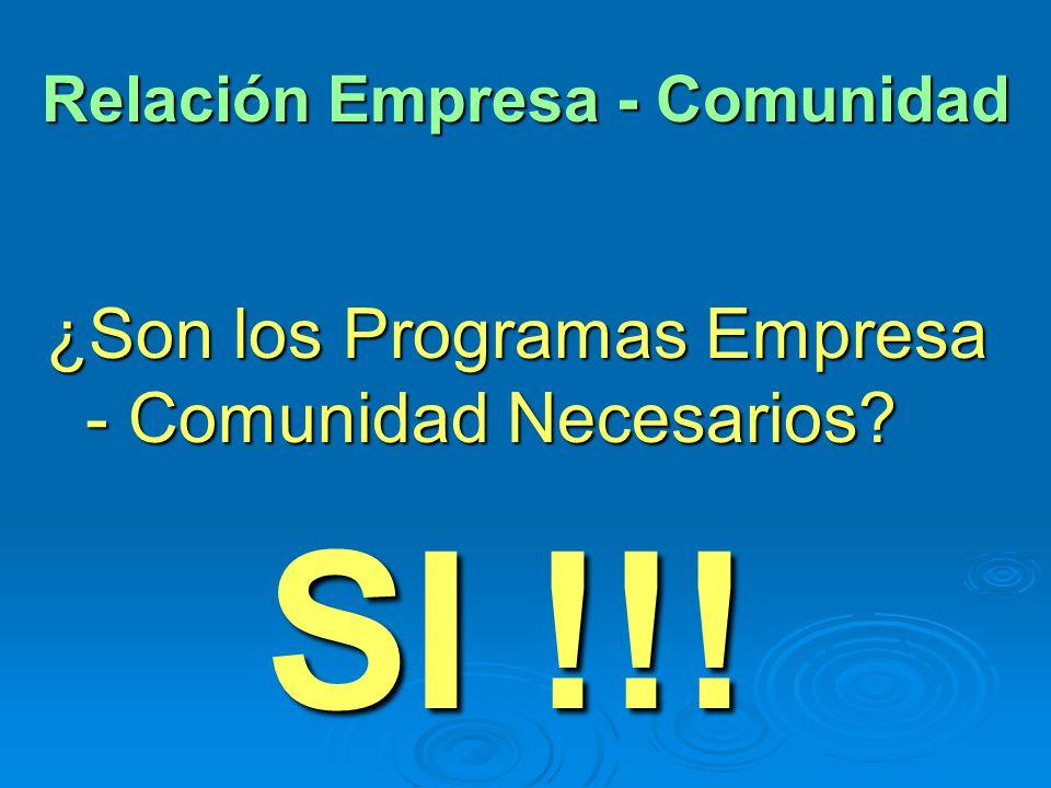 Relación Empresa - Comunidad ¿Son los Programas Empresa - Comunidad Necesarios? SI !!!