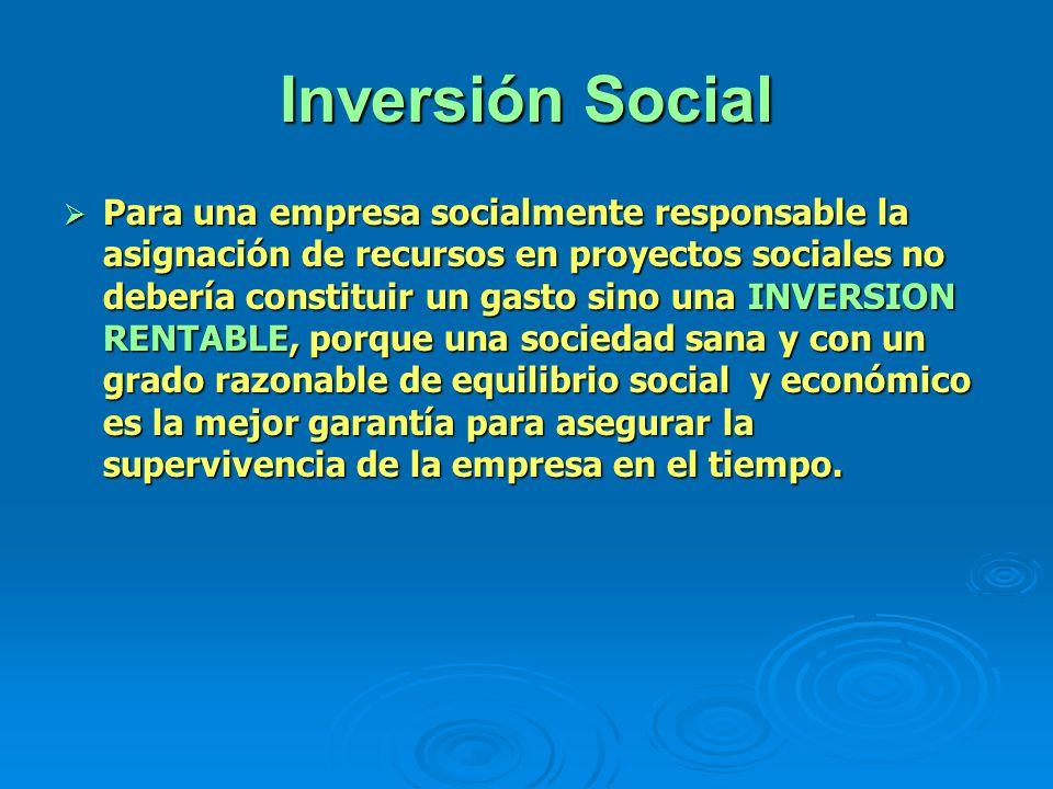 Inversión Social Para una empresa socialmente responsable la asignación de recursos en proyectos sociales no debería constituir un gasto sino una INVE