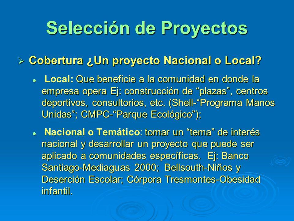 Selección de Proyectos Cobertura ¿Un proyecto Nacional o Local? Cobertura ¿Un proyecto Nacional o Local? Que beneficie a la comunidad en donde la empr
