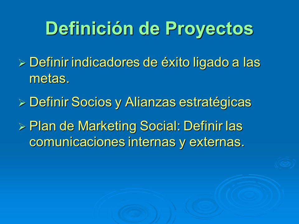 Definición de Proyectos Definir indicadores de éxito ligado a las metas. Definir indicadores de éxito ligado a las metas. Definir Socios y Alianzas es