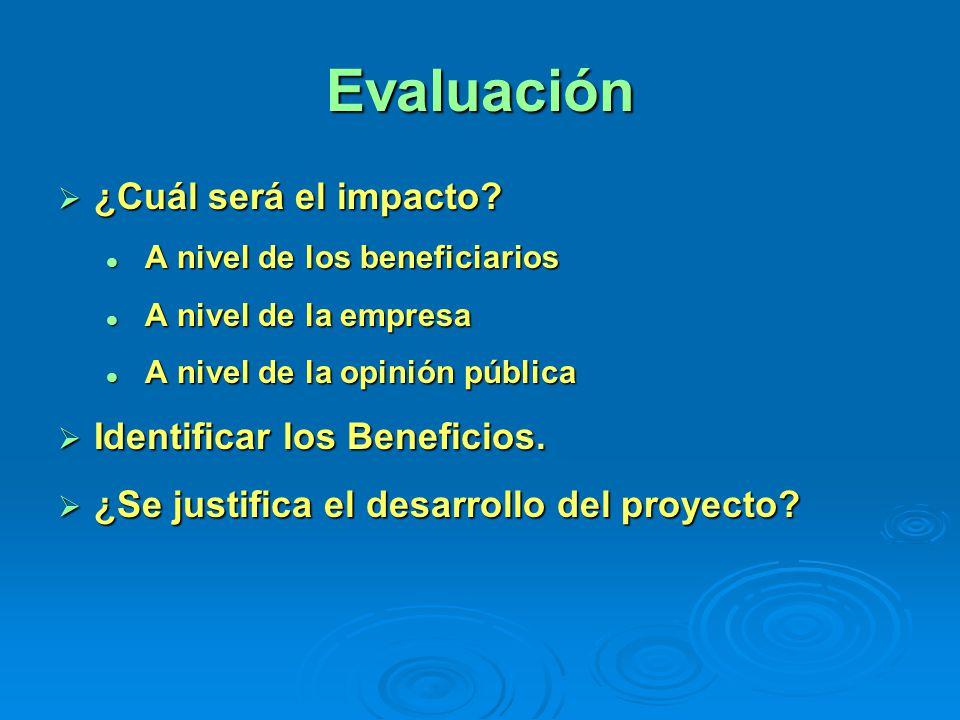 Evaluación ¿Cuál será el impacto? ¿Cuál será el impacto? A nivel de los beneficiarios A nivel de los beneficiarios A nivel de la empresa A nivel de la