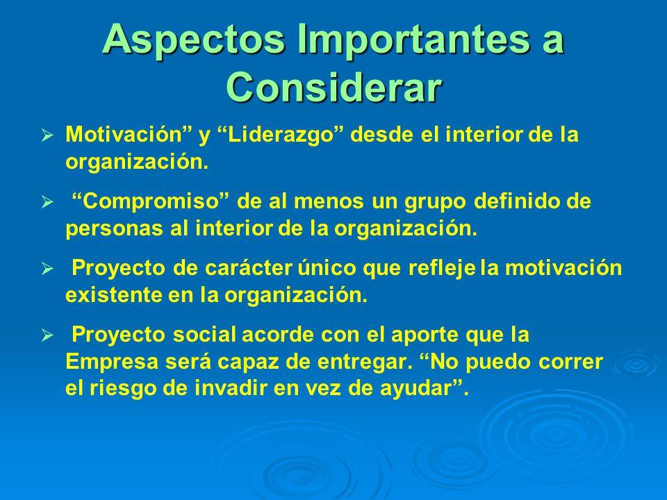 Aspectos Importantes a Considerar Motivación y Liderazgo desde el interior de la organización. Compromiso de al menos un grupo definido de personas al