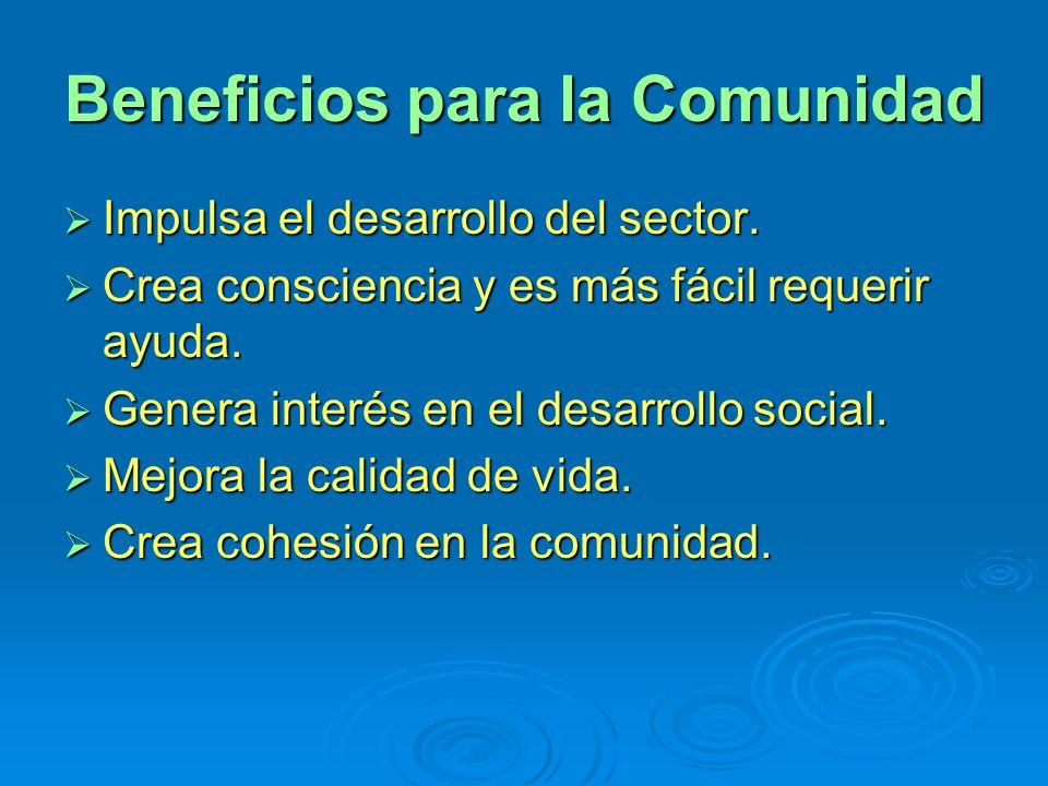 Beneficios para la Comunidad Impulsa el desarrollo del sector. Impulsa el desarrollo del sector. Crea consciencia y es más fácil requerir ayuda. Crea