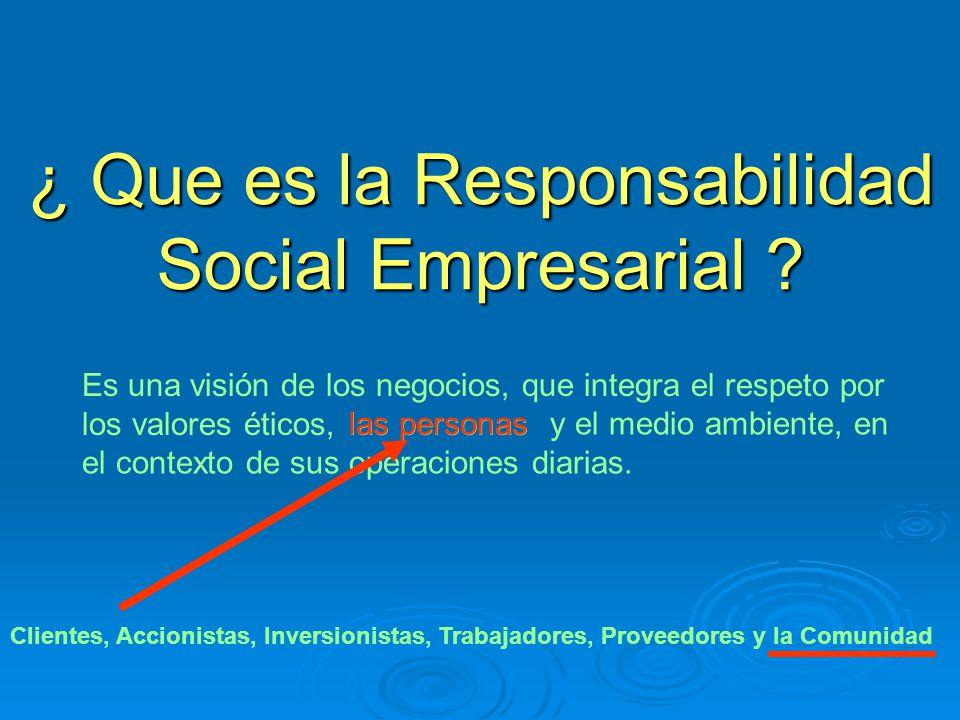¿ Que es la Responsabilidad Social Empresarial ? Es una visión de los negocios, que integra el respeto por los valores éticos, y el medio ambiente, en