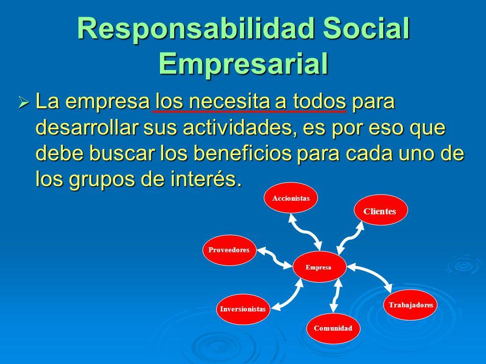 Responsabilidad Social Empresarial La empresa los necesita a todos para desarrollar sus actividades, es por eso que debe buscar los beneficios para cada uno de los grupos de interés.