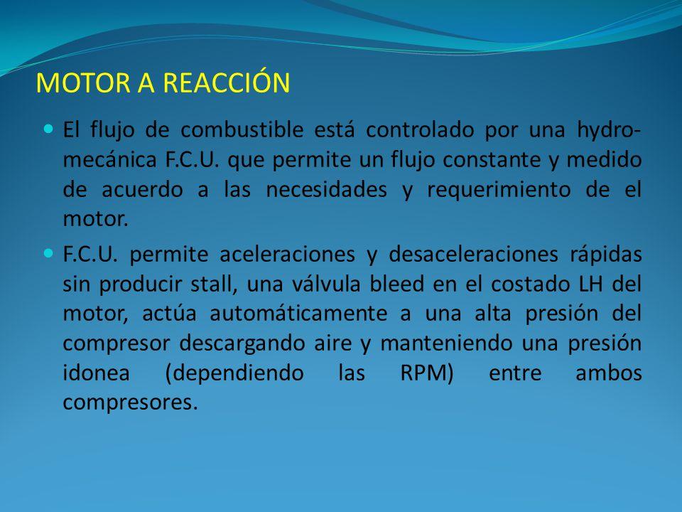 El flujo de combustible está controlado por una hydro- mecánica F.C.U. que permite un flujo constante y medido de acuerdo a las necesidades y requerim