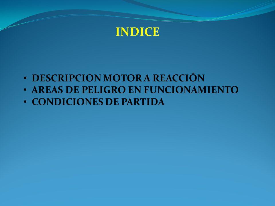 INDICE DESCRIPCION MOTOR A REACCIÓN AREAS DE PELIGRO EN FUNCIONAMIENTO CONDICIONES DE PARTIDA