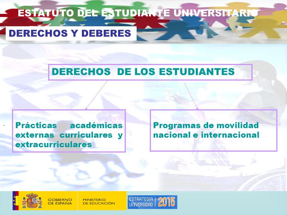. DERECHOS DE LOS ESTUDIANTES Prácticas académicas externas curriculares y extracurriculares ESTATUTO DEL ESTUDIANTE UNIVERSITARIO DERECHOS Y DEBERES Programas de movilidad nacional e internacional