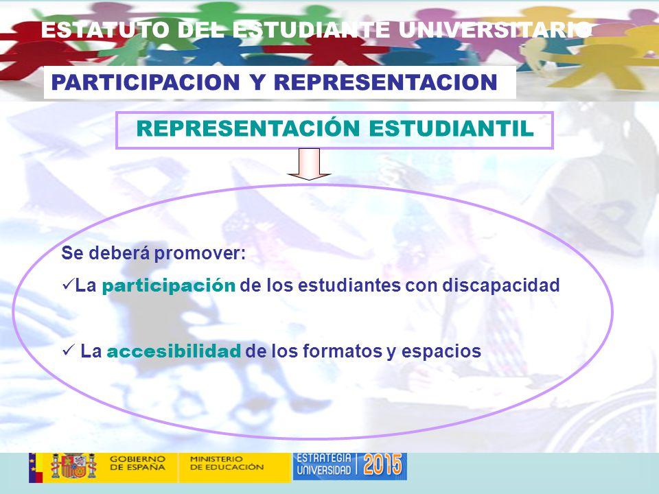 ESTATUTO DEL ESTUDIANTE UNIVERSITARIO Se deberá promover: La participación de los estudiantes con discapacidad La accesibilidad de los formatos y espacios PARTICIPACION Y REPRESENTACION REPRESENTACIÓN ESTUDIANTIL