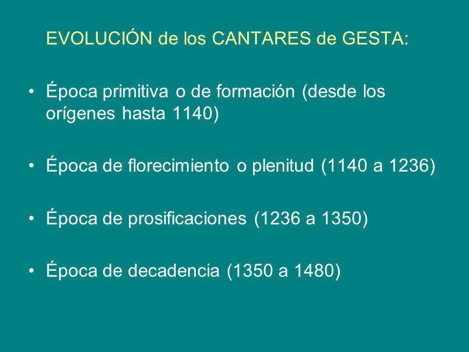 EVOLUCIÓN de los CANTARES de GESTA: Época primitiva o de formación (desde los orígenes hasta 1140) Época de florecimiento o plenitud (1140 a 1236) Épo