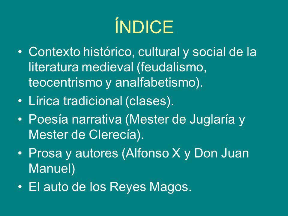 ÍNDICE Contexto histórico, cultural y social de la literatura medieval (feudalismo, teocentrismo y analfabetismo). Lírica tradicional (clases). Poesía