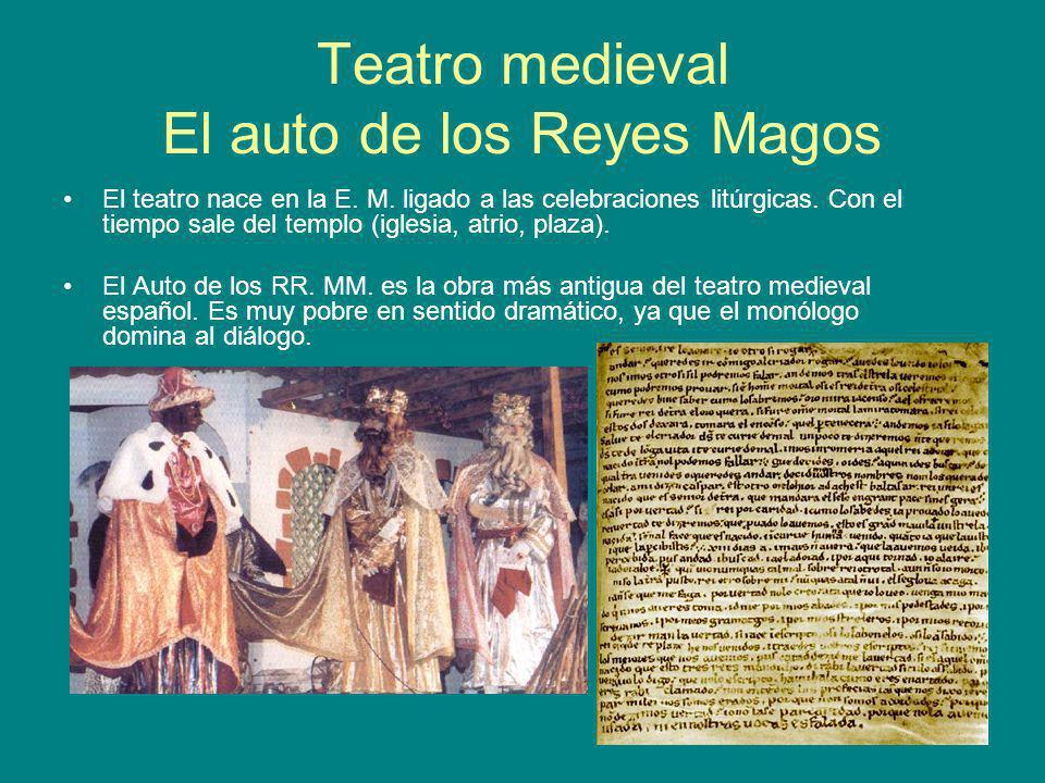 Teatro medieval El auto de los Reyes Magos El teatro nace en la E. M. ligado a las celebraciones litúrgicas. Con el tiempo sale del templo (iglesia, a