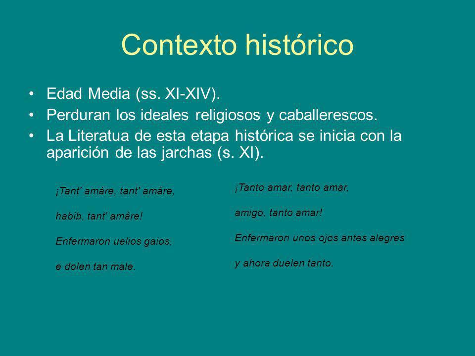 Contexto histórico Edad Media (ss. XI-XIV). Perduran los ideales religiosos y caballerescos. La Literatua de esta etapa histórica se inicia con la apa