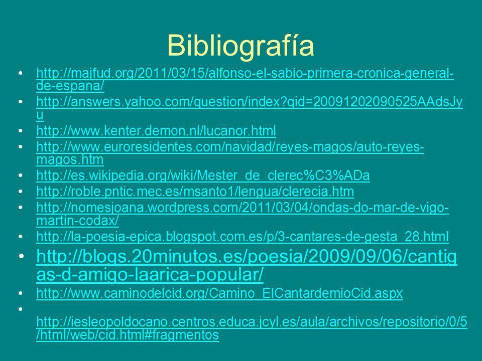 Bibliografía http://majfud.org/2011/03/15/alfonso-el-sabio-primera-cronica-general- de-espana/http://majfud.org/2011/03/15/alfonso-el-sabio-primera-cr