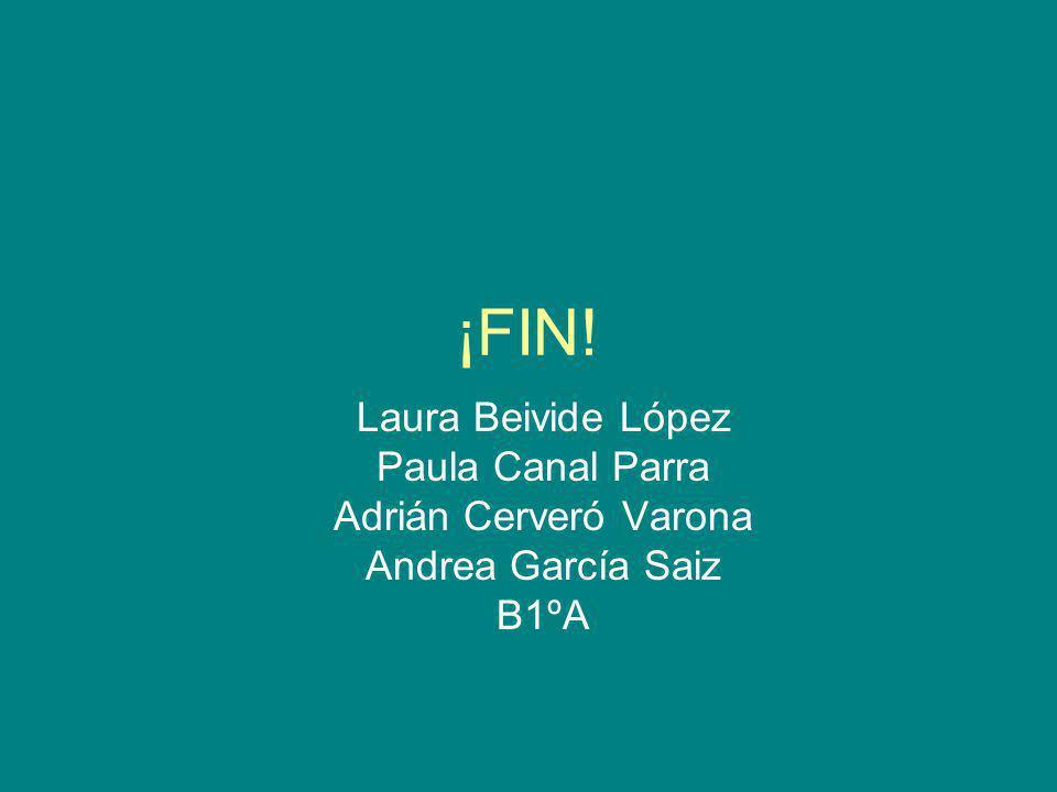 ¡FIN! Laura Beivide López Paula Canal Parra Adrián Cerveró Varona Andrea García Saiz B1ºA