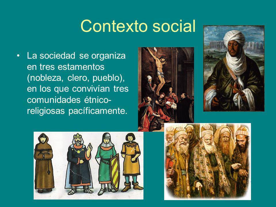 Contexto social La sociedad se organiza en tres estamentos (nobleza, clero, pueblo), en los que convivían tres comunidades étnico- religiosas pacífica