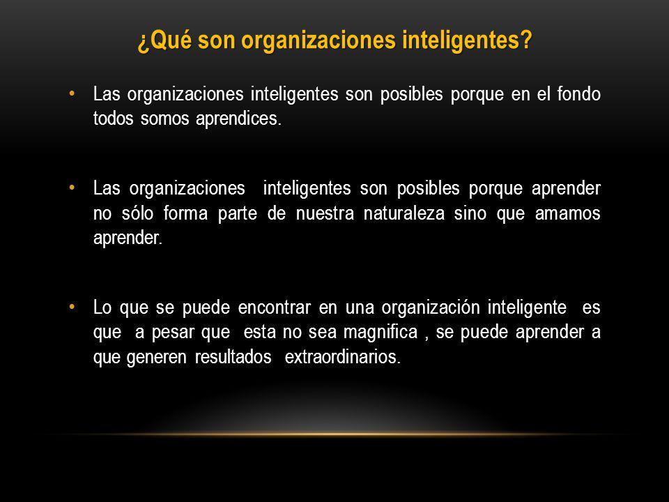 Las organizaciones inteligentes son posibles porque en el fondo todos somos aprendices.