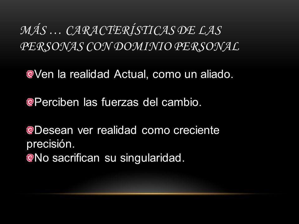 MÁS … CARACTERÍSTICAS DE LAS PERSONAS CON DOMINIO PERSONAL Ven la realidad Actual, como un aliado.