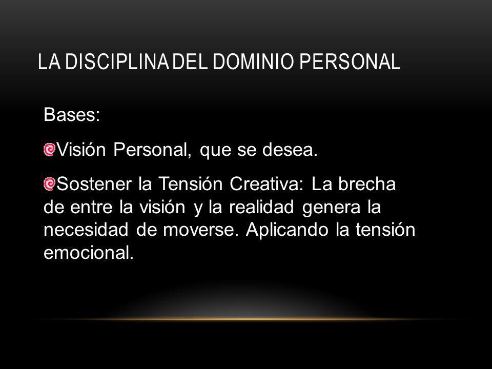 LA DISCIPLINA DEL DOMINIO PERSONAL Bases: Visión Personal, que se desea.