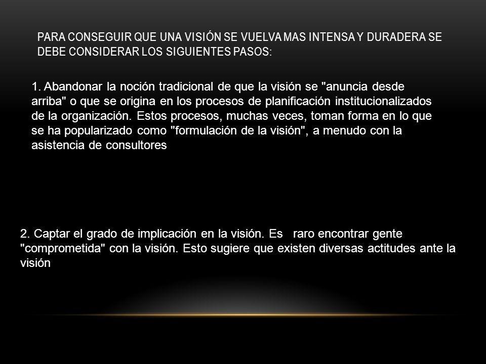 PARA CONSEGUIR QUE UNA VISIÓN SE VUELVA MAS INTENSA Y DURADERA SE DEBE CONSIDERAR LOS SIGUIENTES PASOS: 1.