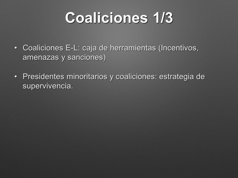 Coaliciones 1/3 Coaliciones E-L: caja de herramientas (Incentivos, amenazas y sanciones)Coaliciones E-L: caja de herramientas (Incentivos, amenazas y