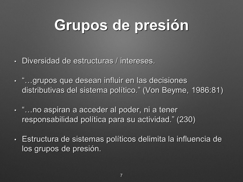 Grupos de presión Diversidad de estructuras / intereses. Diversidad de estructuras / intereses. …grupos que desean influir en las decisiones distribut