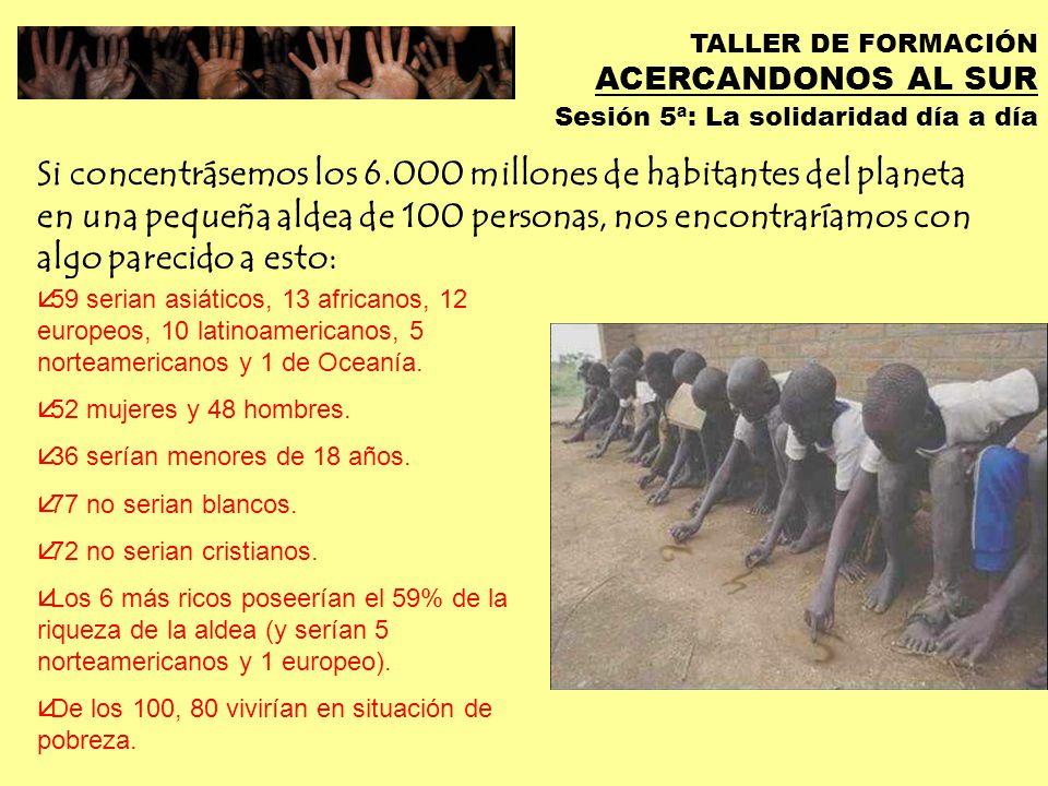 TALLER DE FORMACIÓN ACERCANDONOS AL SUR Sesión 5ª: La solidaridad día a día La globalización… … intenta resignarnos a la impotencia ante la complejidad de los problemas