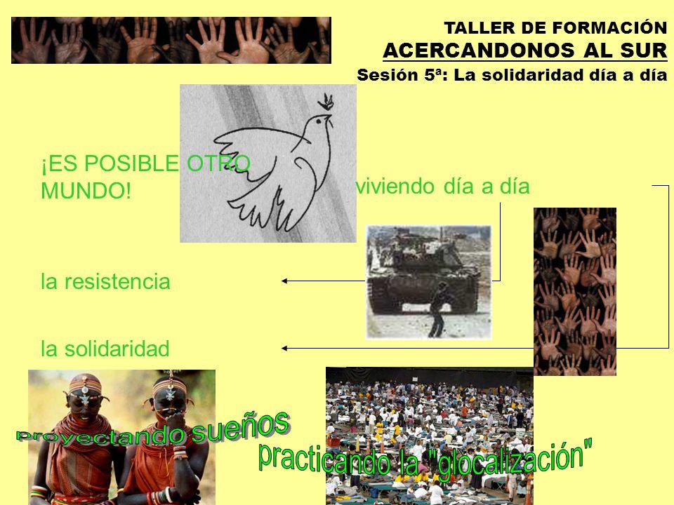 TALLER DE FORMACIÓN ACERCANDONOS AL SUR Sesión 5ª: La solidaridad día a día MODELOS DE SOLIDARIDAD ESPECTACULOCAMPAÑASCOOPERACIONENCUE NTRO VISI ON DEL CO NFL ICT O DesgraciaLacraDesajuste del sistema Desequili brio Norte- Sur GR AD O DE IMP LIC ACI ON No seguimiento, no proceso.