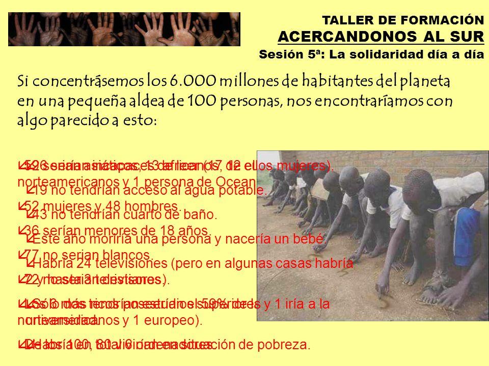 TALLER DE FORMACIÓN ACERCANDONOS AL SUR Sesión 5ª: La solidaridad día a día La globalización… …nos engaña con su mismo nombre