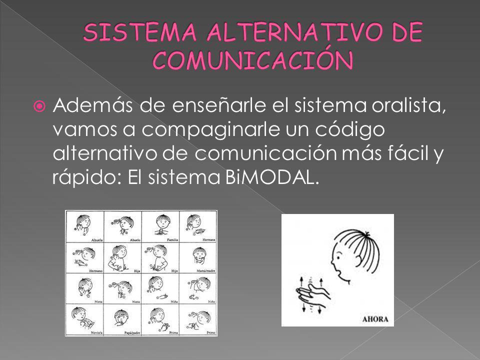Además de enseñarle el sistema oralista, vamos a compaginarle un código alternativo de comunicación más fácil y rápido: El sistema BiMODAL.