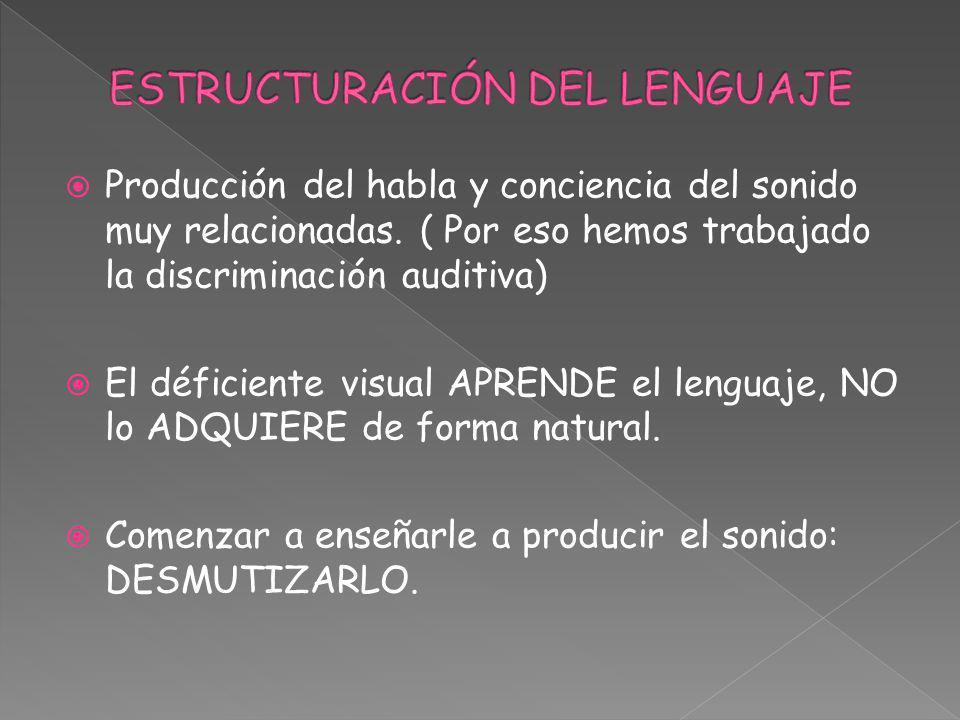 Producción del habla y conciencia del sonido muy relacionadas. ( Por eso hemos trabajado la discriminación auditiva) El déficiente visual APRENDE el l