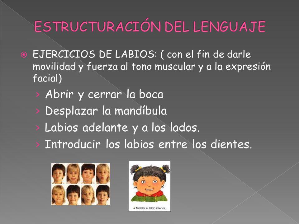 EJERCICIOS DE LABIOS: ( con el fin de darle movilidad y fuerza al tono muscular y a la expresión facial) Abrir y cerrar la boca Desplazar la mandíbula