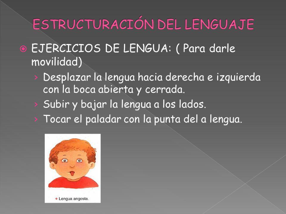 EJERCICIOS DE LENGUA: ( Para darle movilidad) Desplazar la lengua hacia derecha e izquierda con la boca abierta y cerrada. Subir y bajar la lengua a l
