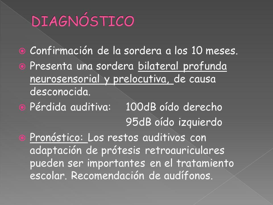 Confirmación de la sordera a los 10 meses. Presenta una sordera bilateral profunda neurosensorial y prelocutiva, de causa desconocida. Pérdida auditiv