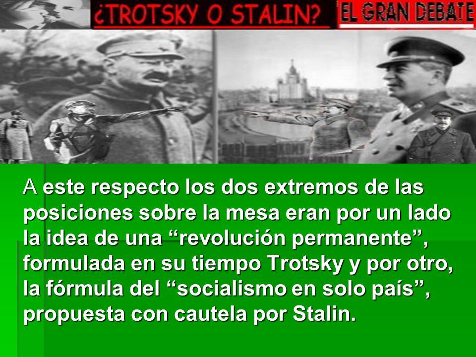 A este respecto los dos extremos de las posiciones sobre la mesa eran por un lado la idea de una revolución permanente, formulada en su tiempo Trotsky y por otro, la fórmula del socialismo en solo país, propuesta con cautela por Stalin.