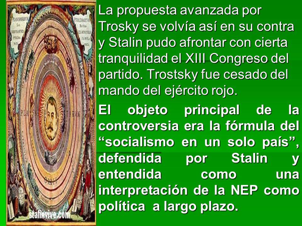 La propuesta avanzada por Trosky se volvía así en su contra y Stalin pudo afrontar con cierta tranquilidad el XIII Congreso del partido.