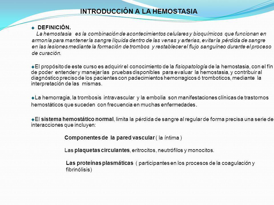 INTRODUCCIÓN A LA HEMOSTASIA DEFINICIÓN.